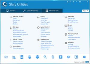 Capture d'écran du logiciel Glary Utilities Free Portable ...