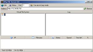 Capture d'écran du logiciel HFS - HTTP File Server 2.3k Bu...
