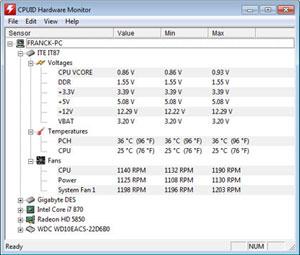 Capture d'ecran du logiciel HWMonitor 1.35.0
