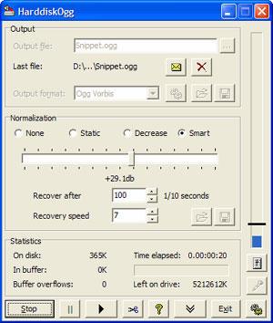 Capture d'écran du logiciel HarddiskOgg 2.52