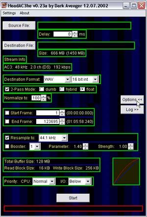 Capture d'écran du logiciel HeadAC3he 0.23a