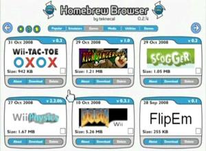 Capture d'ecran du logiciel Homebrew Browser 0.3.9e