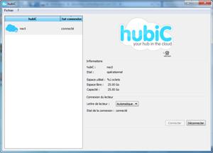 Capture d'écran du logiciel hubiC 2.1.1.145 fr