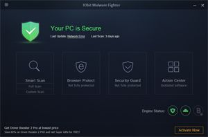 Capture d'ecran du logiciel IObit Malware Fighter Free 8.1.0.645 fr