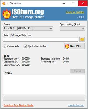 Capture d'ecran du logiciel ISOburn Portable 2.0.0