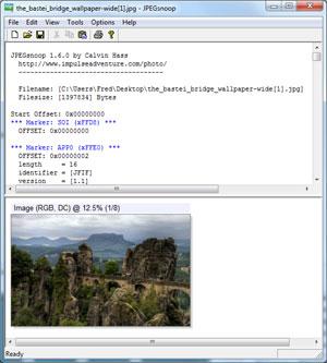 Capture d'écran du logiciel JPEGsnoop 1.7.5