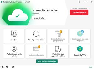 Capture d'ecran du logiciel Kaspersky Security Cloud Free 21.3.10.391e fr