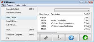 Capture d'ecran du logiciel KillProcess 2.44
