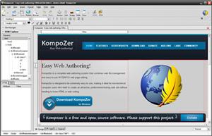 Capture d'écran du logiciel KompoZer 0.8b3 fr