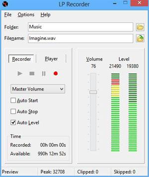 Capture d'ecran du logiciel LP Recorder 11.1.1.0