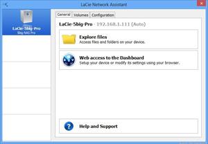 Capture d'écran du logiciel LaCie Network Assistant 1.5.16.73