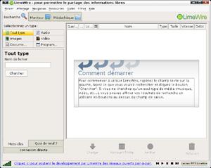 Capture d'écran du logiciel LimeWire 5.5.16 - Linux