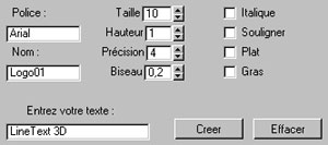 Capture d'écran du logiciel Line Text 3D 2.1 fr