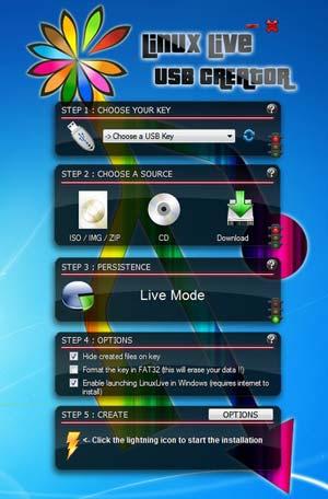 Capture d'écran du logiciel LinuxLive USB Creator Portable...