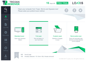 Capture d'ecran du logiciel Loaris Trojan Remover 3.1.67 fr