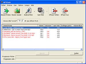 Capture d'écran du logiciel MP3Gain Portable 1.2.5 Full fr