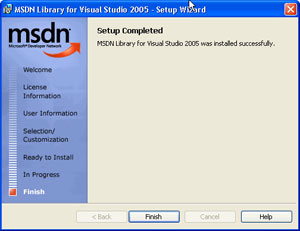 Capture d'ecran du logiciel MSDN Library May 2006 Edition