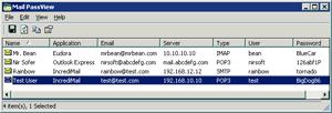 Capture d'ecran du logiciel Mail PassView 1.90 fr