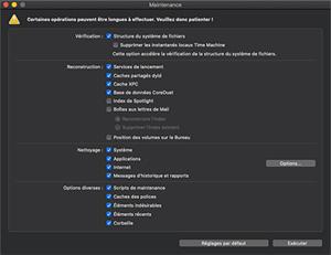 Capture d'ecran du logiciel Maintenance 2.6.4 fr