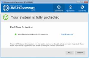 Capture d'écran du logiciel Malwarebytes Anti-Ransomware 0...