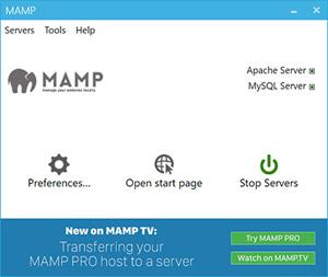 Capture d'écran du logiciel Mamp 3.3.1.18234 - Windows