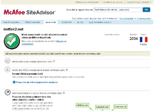 Capture d'ecran du logiciel McAfee SiteAdvisor 3.1.0.175 fr (IE)
