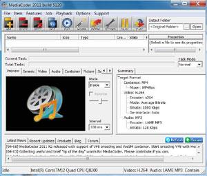 Capture d'ecran du logiciel MediaCoder 0.8.49 Build 5892 fr