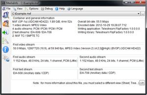 Capture d'ecran du logiciel MediaInfo 19.09 fr
