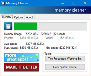 Capture d'ecran du logiciel Memory Cleaner 2.60
