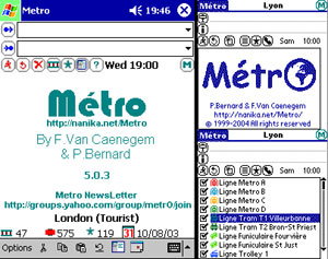 Capture d'ecran du logiciel Métro 6.0.2 fr - Palm