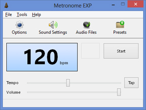 Capture d'ecran du logiciel Metronome EXP 1.0.3.9 fr