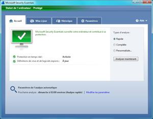 Capture d'ecran du logiciel Microsoft Security Essentials 4.8.204.0 fr - XP