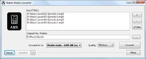 Capture d'écran du logiciel Mobile Media Converter 1.8.5