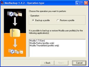 Capture d'écran du logiciel MozBackup 1.5.2b1 fr