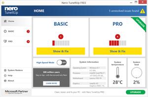 Capture d'ecran du logiciel Nero TuneItUp Free 2.8.0.84 fr