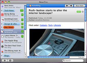 Capture d'écran du logiciel NewsFire 2.0