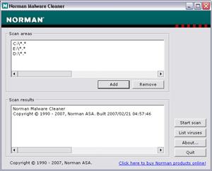 Capture d'écran du logiciel Norman Malware Cleaner 2015.02.23