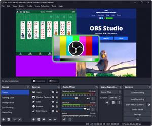 Capture d'ecran du logiciel OBS Studio 25.0.8 fr
