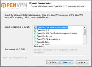 Capture d'ecran du logiciel OpenVPN 2.4.8-I602