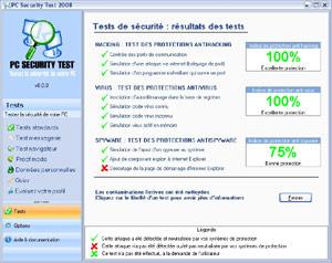 Capture d'écran du logiciel PC Security Test 2013 13.0.1 fr
