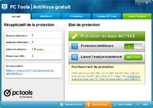 Capture d'ecran du logiciel PC Tools AntiVirus Free 2012 9.1.0.2898 fr