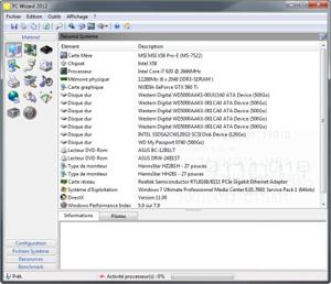 Capture d'écran du logiciel PC Wizard 2014.2.13 fr
