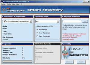 Capture d'ecran du logiciel PC Inspector Smart recovery 4.5 fr