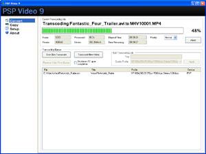 Capture d'écran du logiciel PSP Video 9 6.00 fr