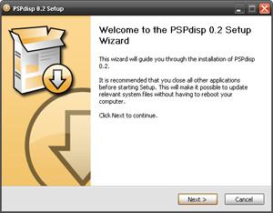 Capture d'ecran du logiciel PSPdisp 0.6