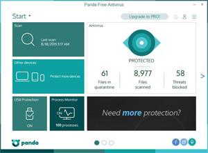 Capture d'écran du logiciel Panda Free Antivirus 18.06.0 fr