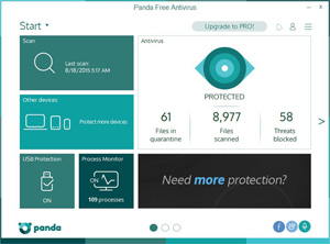 Capture d'ecran du logiciel Panda Free Antivirus 18.06.01 fr