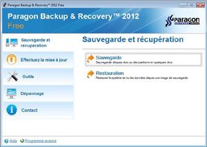 Capture d'écran du logiciel Paragon Backup & Recovery Free...