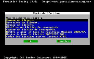 Capture d'ecran du logiciel Partition Saving 4.50 fr