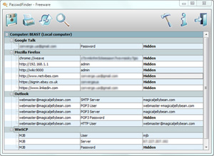 Capture d'ecran du logiciel PasswdFinder 1.0.0.25